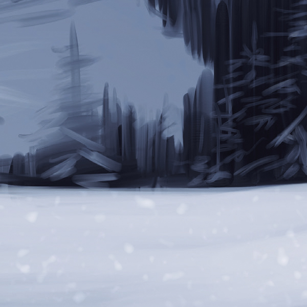 Moderne Illustration Wald Schnee Detail