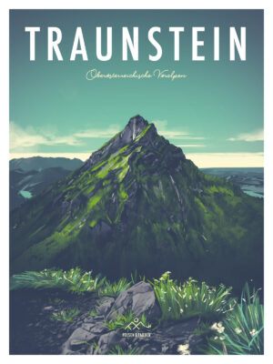 Traunstein Salzkammergut Illustration Poster